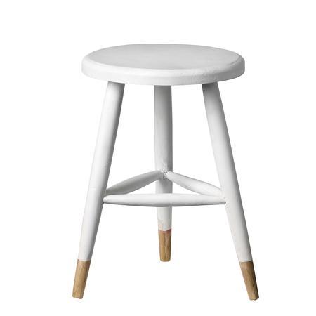 Biały stołek drewniany NORTH & SOUTH HOME