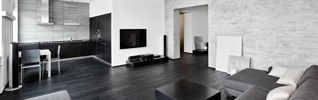 Kuchnia z salonem - styl minimalistyczny