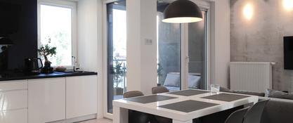 Salon z kuchnią - styl nowoczesny