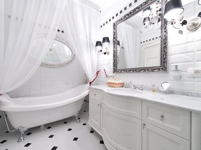 Biało Czarna łazienka W Stylu Glamour Stronywnetrza